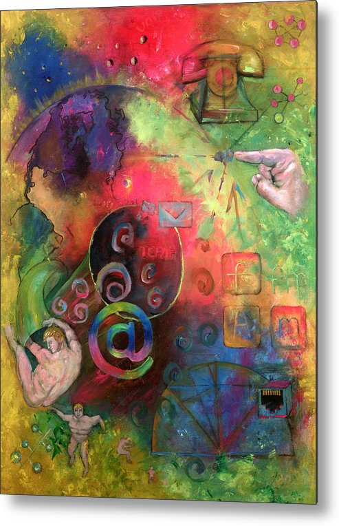 Internet Metal Print featuring the painting The Art Of The Net by Peter Bonk