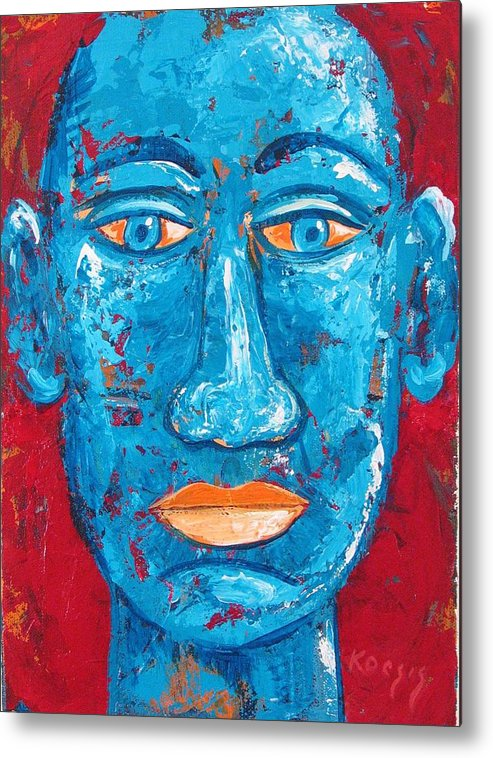 Man Metal Print featuring the painting Contemplative Blue by Rollin Kocsis