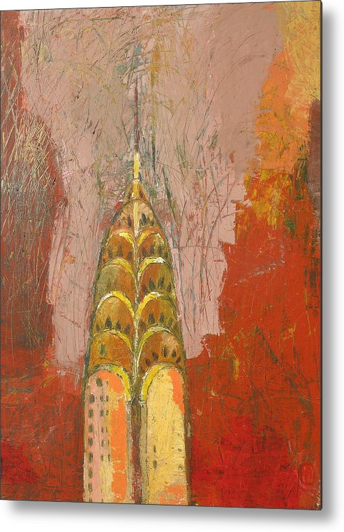 Abstract Cityscape Metal Print featuring the painting The Chrysler In Motion by Habib Ayat