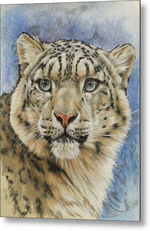 Snow Loepard Metal Print featuring the mixed media The Gaze by Barbara Keith