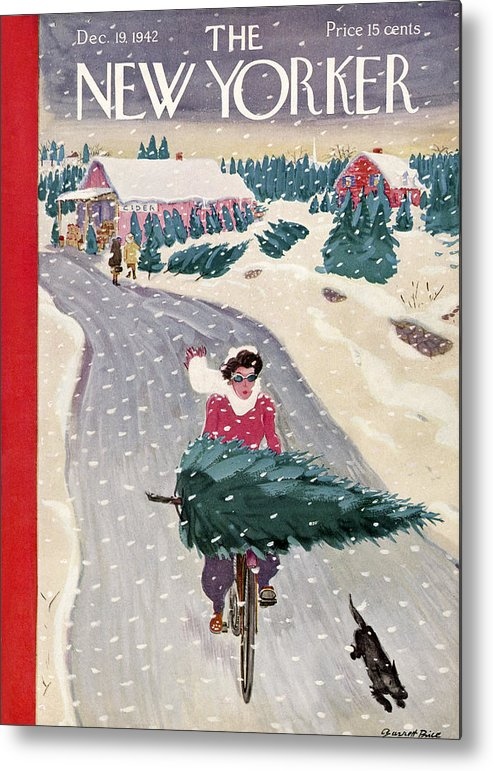 Holidays Metal Print featuring the painting New Yorker December 19, 1942 by Garrett Price
