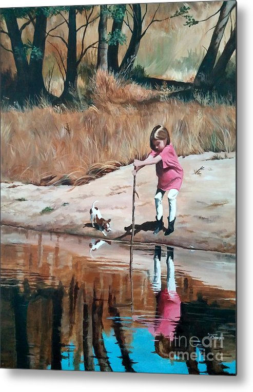 Scenes Metal Print featuring the painting The Pond by Suzanne Schaefer