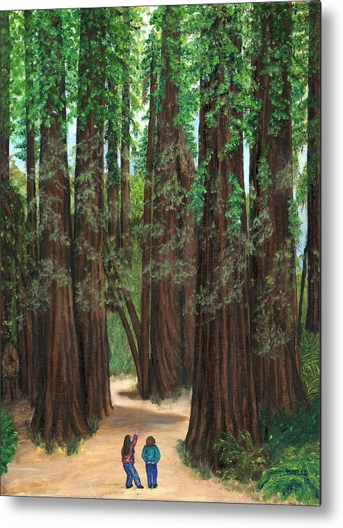Redwoods Metal Print featuring the painting The Tall and Not to be Cut by Tanna Lee M Wells