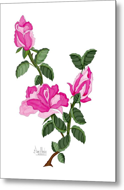 Roses Metal Print featuring the painting Three Roses in the Garden by Anne Norskog