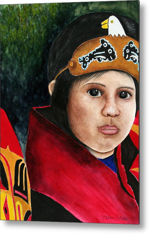 Native Metal Print featuring the painting Tinglit Native Girl by Mary Gaines