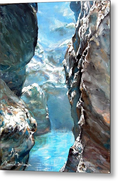 Landscape Metal Print featuring the painting Trouee 3 by Muriel Dolemieux