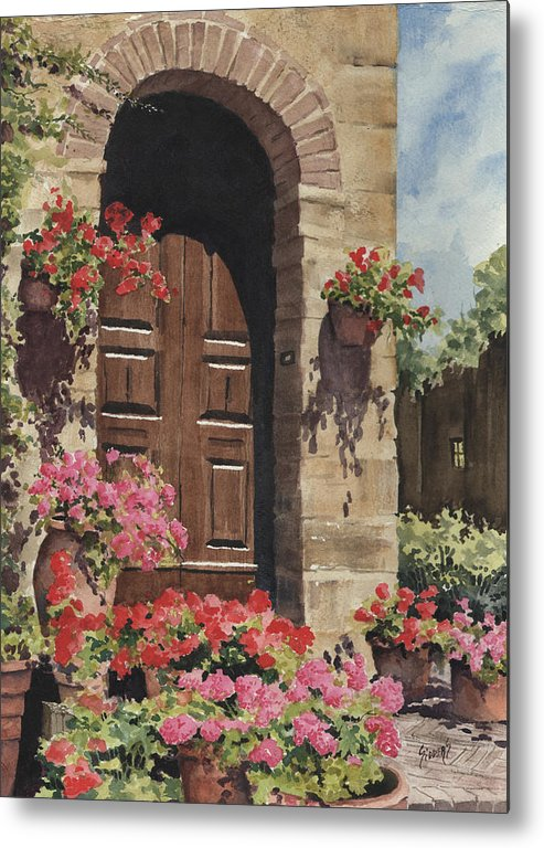 Flowers Metal Print featuring the painting Tuscan Door by Sam Sidders