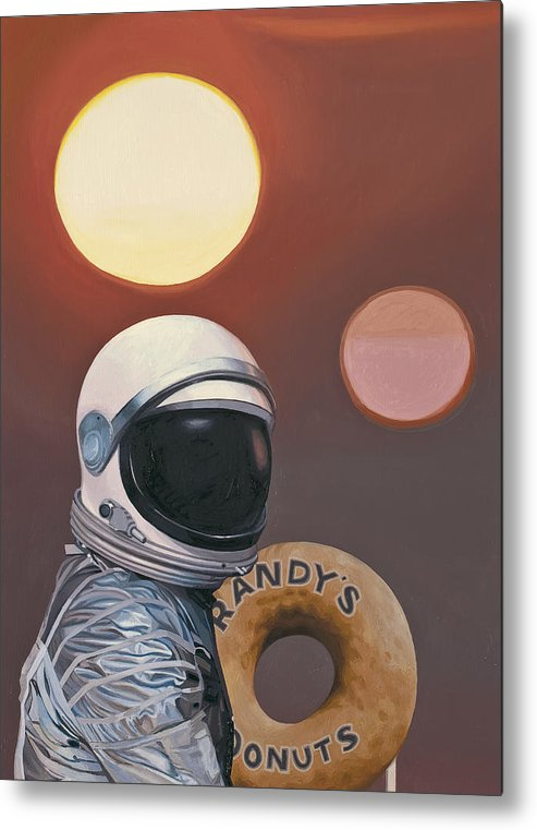 Space Metal Print featuring the painting Twin Suns and Donuts by Scott Listfield