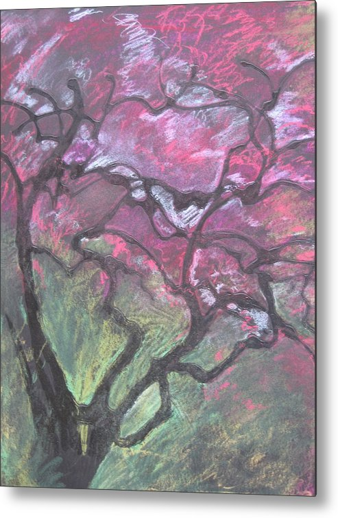 Pastel Metal Print featuring the drawing Twisted Cherry by Leah Tomaino
