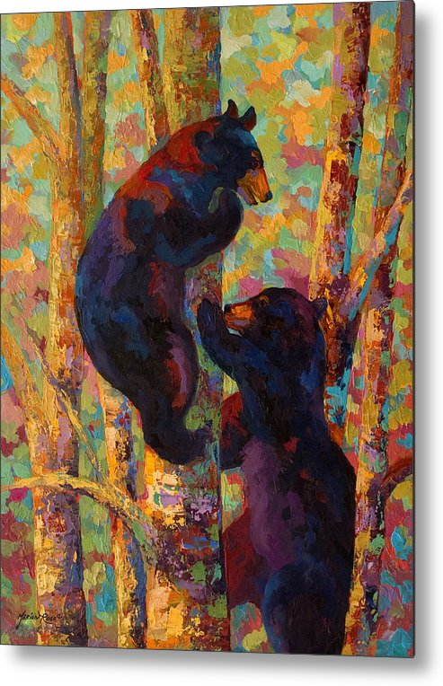 Bear Metal Print featuring the painting Two High - Black Bear Cubs by Marion Rose
