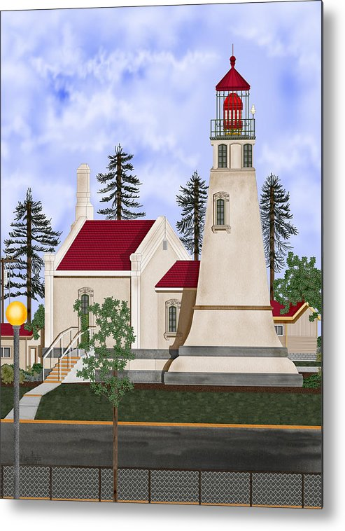 Umpqua Lighthouse Metal Print featuring the painting Umpqua River Lighthouse July 2010 by Anne Norskog