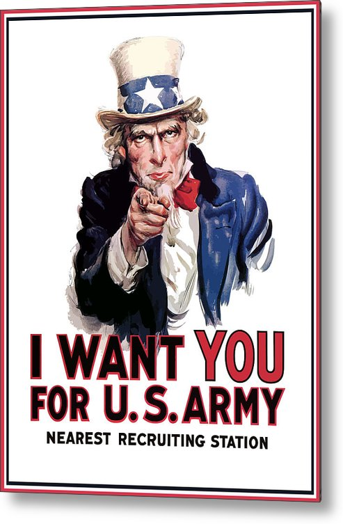 Ww2 Metal Print featuring the painting Uncle Sam -- I Want You by War Is Hell Store