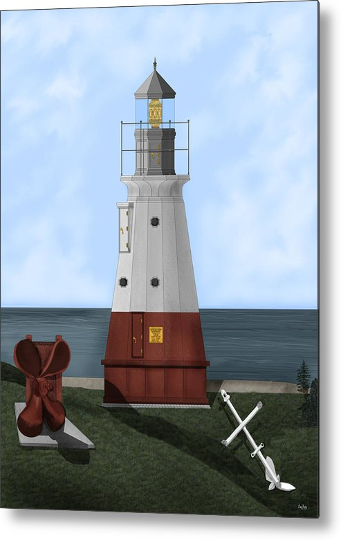 Lighthouse Metal Print featuring the painting Vermillion River Lighthouse on Lake Erie by Anne Norskog