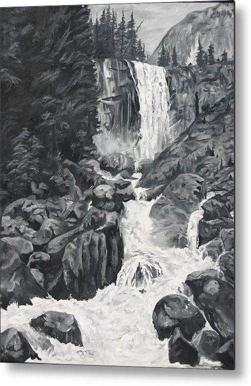 Landscape Metal Print featuring the painting Vernal Falls Black and White by Travis Day