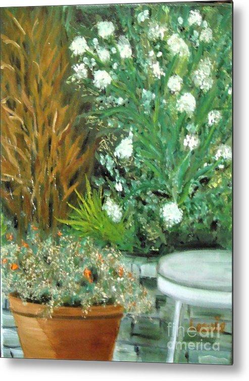 Plein Air Metal Print featuring the painting Virginia's Garden by Laurie Morgan