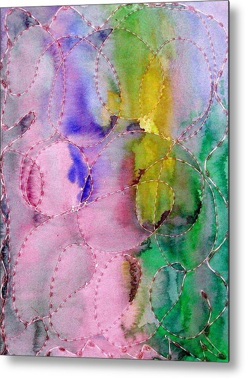 Mixed Media Metal Print featuring the digital art Watercolor and Glue by Margie Byrne
