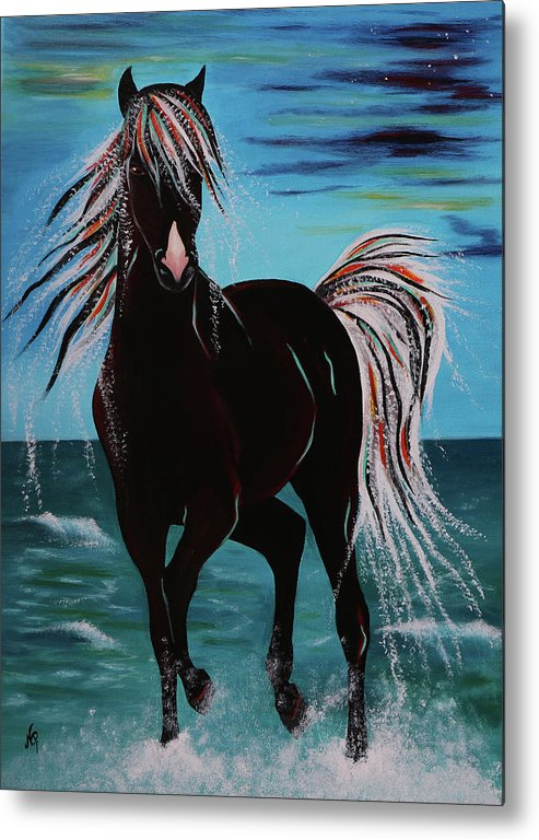 Horse Metal Print featuring the painting Waterhorse by Nicole Paquette