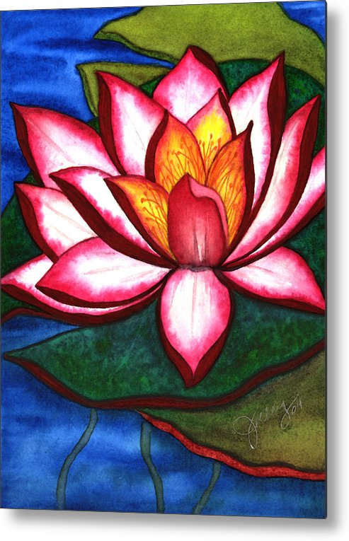 Watercolor Metal Print featuring the painting Waterlily by Stephanie Jolley