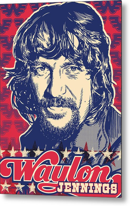 Outlaw Metal Print featuring the digital art Waylon Jennings Pop Art by Jim Zahniser