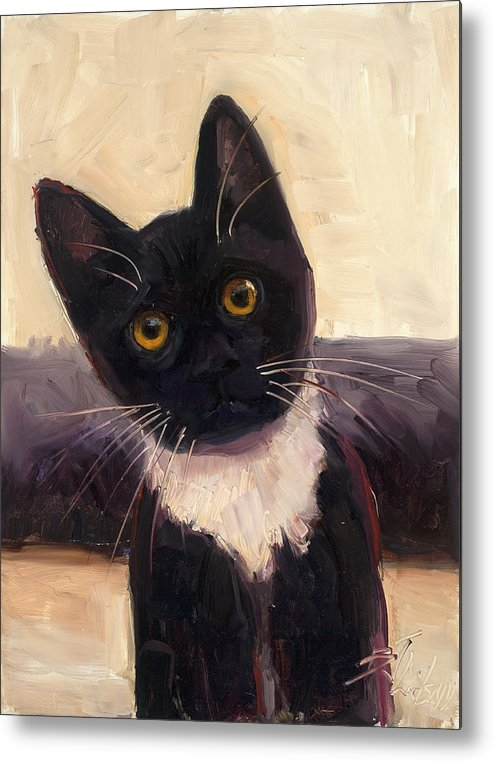 Tuxedo Cat Metal Print featuring the painting Whiskers by Billie Colson