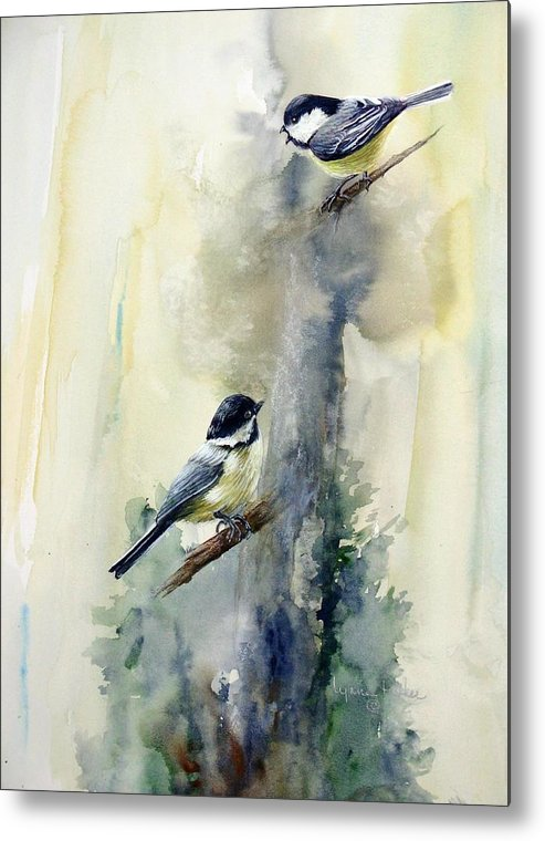Chickadees Metal Print featuring the print Who Says by Lynne Parker