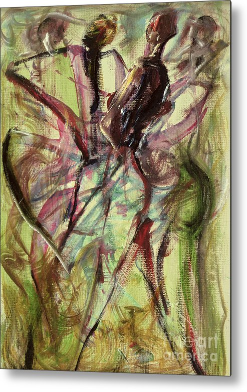 Female Metal Print featuring the painting Windy Day by Ikahl Beckford