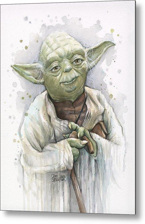 Yoda Metal Print featuring the painting Yoda by Olga Shvartsur