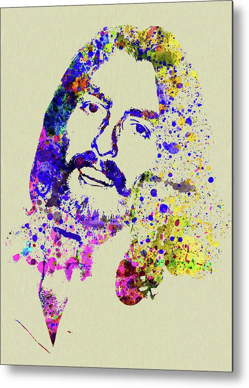 Beatles Metal Print featuring the mixed media Legendary George Harrison Watercolor II by Naxart Studio