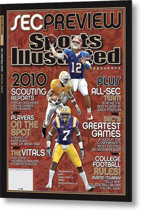Motion Metal Print featuring the photograph 2010 Sec Football Preview Issue Sports Illustrated Cover by Sports Illustrated