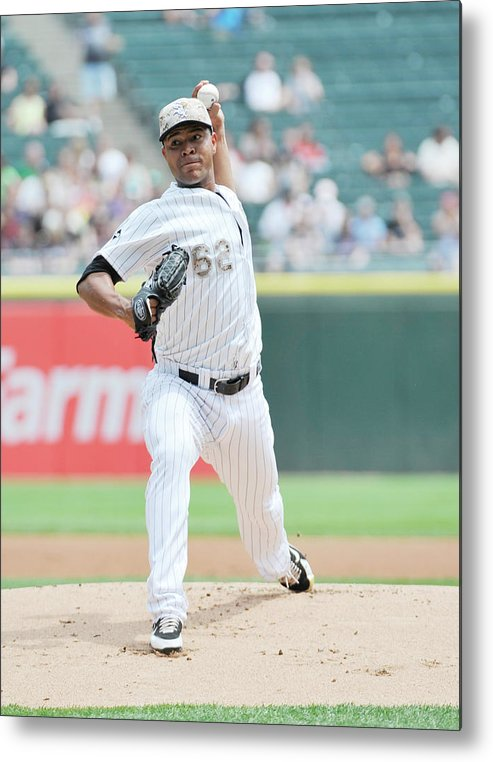 American League Baseball Metal Print featuring the photograph Cleveland Indians V Chicago White Sox by David Banks