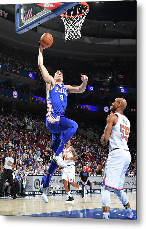 Nba Pro Basketball Metal Print featuring the photograph Philadelphia 76ers V New York Knicks by Jesse D. Garrabrant