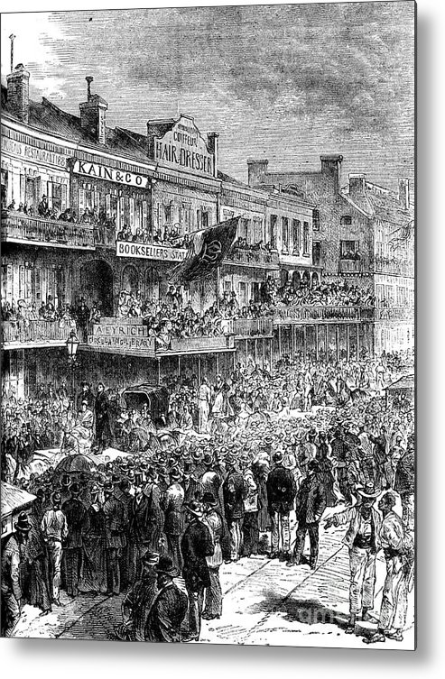 Democracy Metal Print featuring the drawing A Street In New Orleans On Election by Print Collector