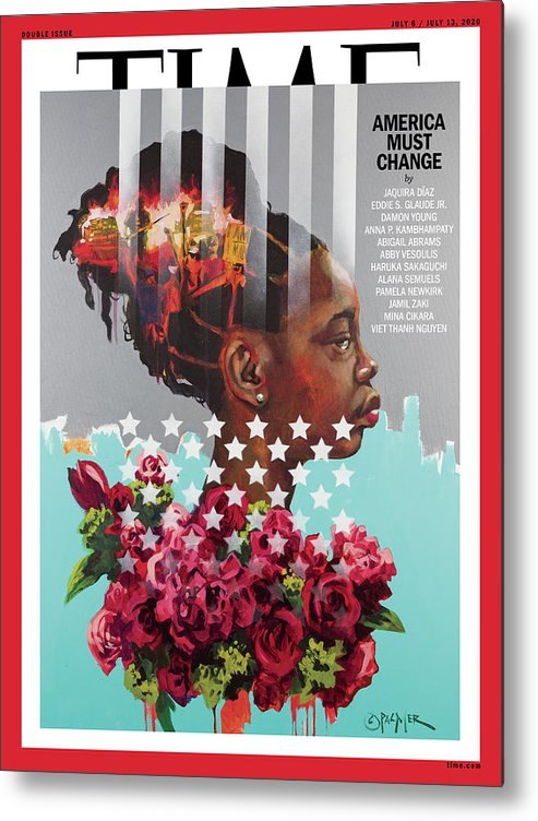 Race Metal Print featuring the photograph America Must Change Time Cover by Painting by Charly Palmer - Photograph by Travis Grissom