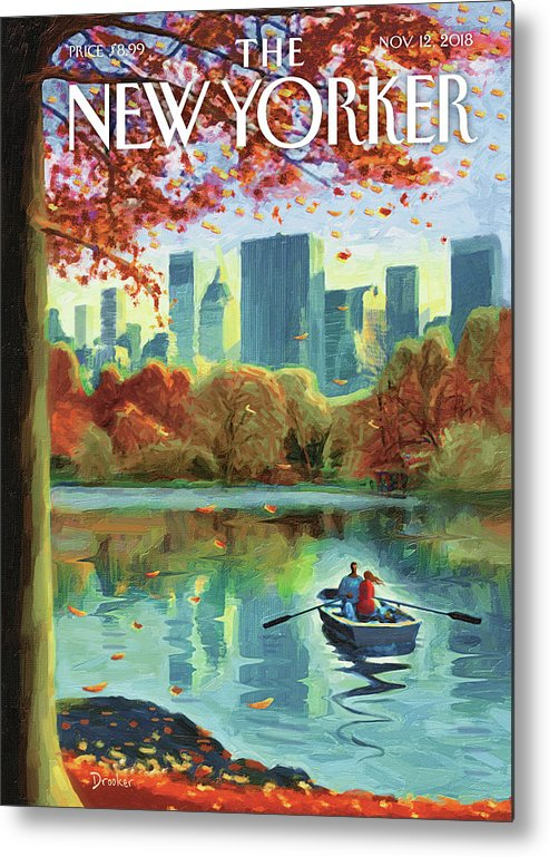 Autumn Central Park Metal Print featuring the drawing Autumn Central Park by Eric Drooker