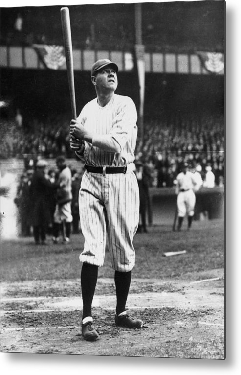 People Metal Print featuring the photograph Babe Ruth Batting For Ny Yankees by Topical Press Agency