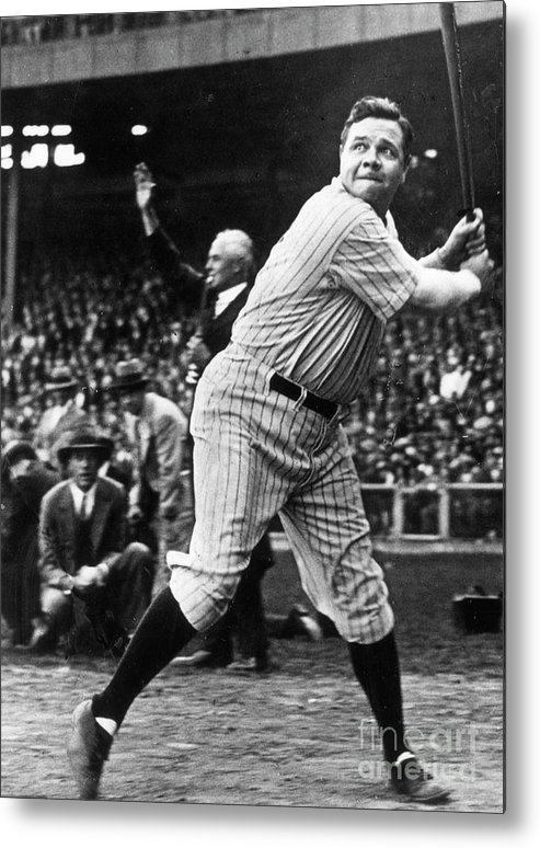 American League Baseball Metal Print featuring the photograph Babe Ruth Eye On Ball by Transcendental Graphics