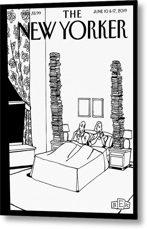 Bedtime Stories Metal Print featuring the drawing Bedtime Stories by Bruce Eric Kaplan