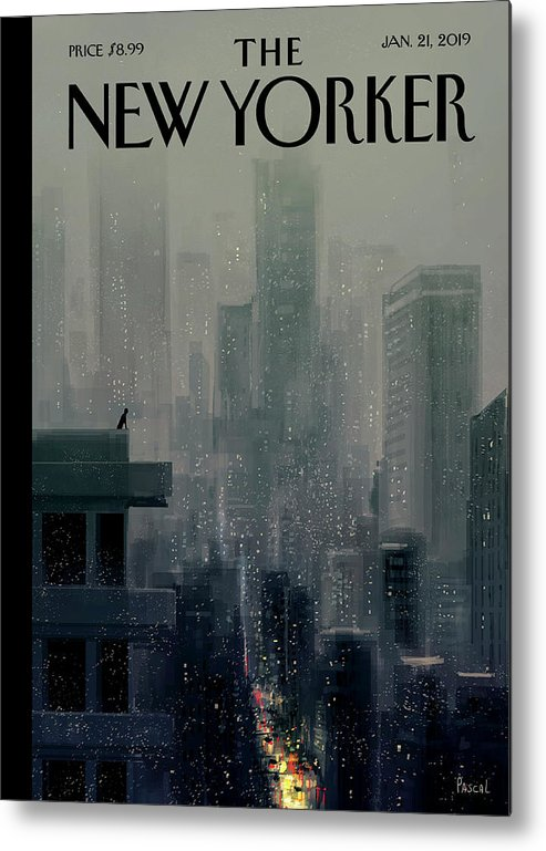 Cityscape On A Wintery Evening With A Silhouette Of A Person On A Rooftop Metal Print featuring the painting Big City by Pascal Campion