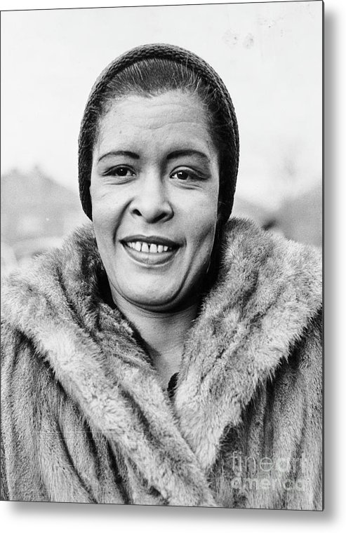People Metal Print featuring the photograph Bilie Holliday Wearing Fur Coat by Bettmann