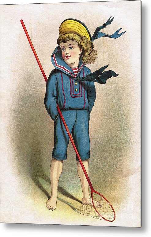 Art Metal Print featuring the photograph Boy In Sailor Suit With Butterfly Net by Bettmann