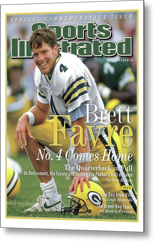 De Pere Metal Print featuring the photograph Brett Favre, No. 4 Comes Home Special Commemorative Issue Sports Illustrated Cover by Sports Illustrated