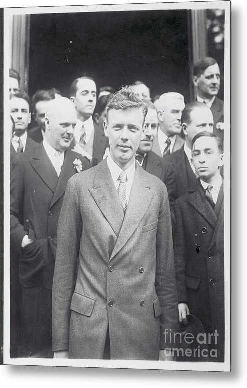 People Metal Print featuring the photograph Charles Lindbergh Standing by Bettmann