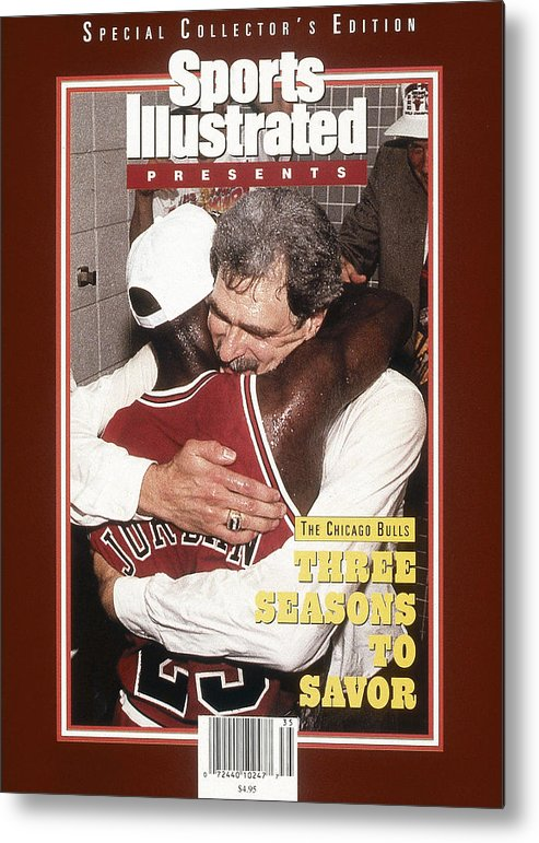 Chicago Bulls Metal Print featuring the photograph Chicago Bulls Coach Phil Jackson And Michael Jordan, 1993 Sports Illustrated Cover by Sports Illustrated