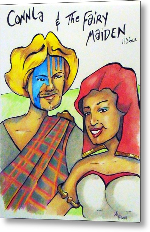 Celtic Metal Print featuring the drawing Connla and the fairy maiden 1060ce by Loretta Nash