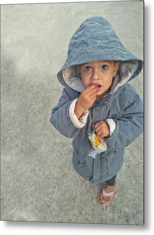 Cute Metal Print featuring the photograph Cute baby by Imran Khan