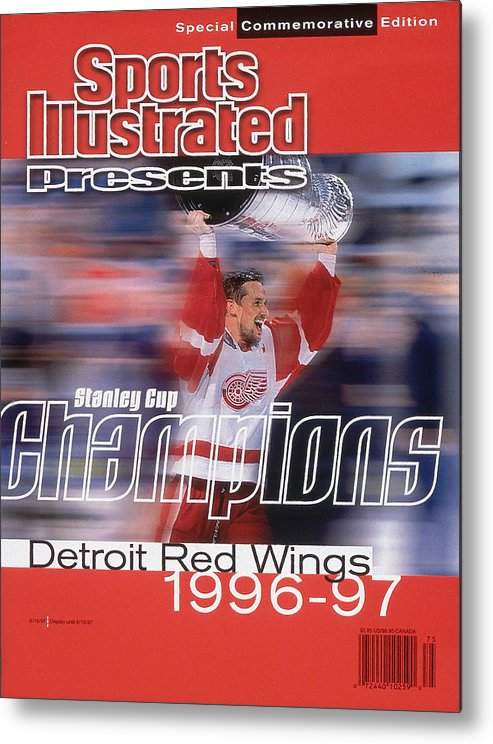 National Hockey League Metal Print featuring the photograph Detroit Red Wings Steve Yzerman, 1997 Nhl Stanley Cup Sports Illustrated Cover by Sports Illustrated