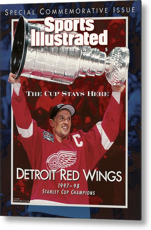 National Hockey League Metal Print featuring the photograph Detroit Red Wings Steve Yzerman, 1998 Nhl Finals Sports Illustrated Cover by Sports Illustrated
