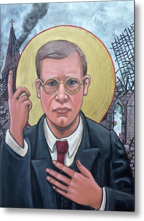 Iconography Dietrich Bonhoeffer Christian Theologian Metal Print featuring the painting Dietrich Bonhoeffer by Kelly Latimore