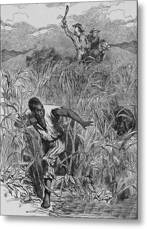 Engraving Metal Print featuring the photograph Engraving Of Slave Escape, Mid-19th by Kean Collection