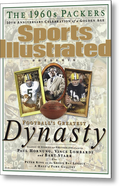 Celebration Metal Print featuring the photograph Footballs Greatest Dynasty The 1960s Packers Sports Illustrated Cover by Sports Illustrated